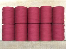 Rug Warp - Lot of 10 spools - 8/4 Cotton / Polyester Blend - Color Barn Red