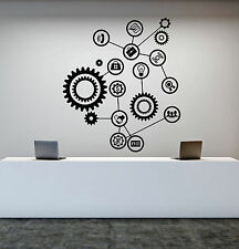 Vinyl Wall Decal Gears Office Decor Worker Style Stickers (1303ig)