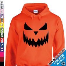 Unisex Pumpkin Face Halloween Hoodie - Mens & Ladies Trick or Treat Costume