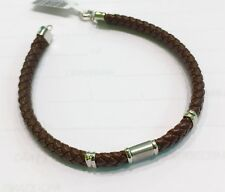 18K White Gold 750 Man´s Leather cord Bracelet Brown