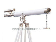 Nautical Nickel With White Leather Griffith Astro Telescope White Wooden Tripod