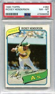 1980 Topps 482 Rickey Henderson Rookie PSA 8 NM-MT