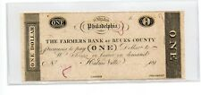 $1 he Farmers Bank of Bucks County Philadelphia Obsolete Note Currency Ec5039
