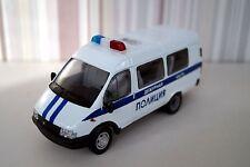"GAZ-3221 ""Gazel"" Russian Police MicroBus 1:43 diecast scale metal model."