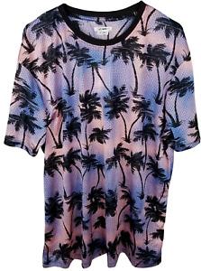Fashion Nova Shirt Cruisin' Short Sleeve Mesh Short Sleeve Tee Pink Palms Men 3X