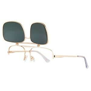 Gold Frame Caravan Flip Up Sunglasses w/ Green Lenses for Golf, Fishing, Pilots