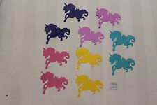 10 UNICORNS MIXED COLORS 2.75 INCHES CARD STOCK PAPER DIECUTS  2016-2143