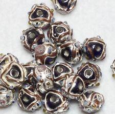 20 Indian Fancy Lampwork Perles Bleu Foncé 8 Mm Rond (BBB568)