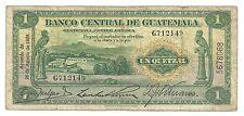 Guatemala 1 Quetzal 1938 P14a F+ Bird Central America Old Money Rare