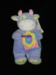 """Fiesta Baby Purple Plush Cow Bull Rattle Lovey Toy Small 7"""""""