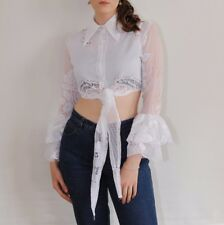 Womens Vintage 70s White Floral Lace Frilly Crop Top Tie Front Shirt Blouse
