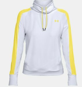 Under Armour Women's White/Yellow UA Featherweight Fleece Funnel Pullover Hoodie