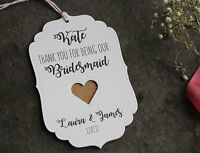 PERSONALISED THANK YOU TAGS-Bridesmaid-Maid of Honour-Flower Girl-White Card