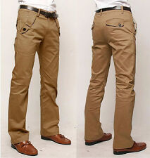 Mens Trousers Casual Slim Fit Straight leg Long Formal Leisure Pants Skinny
