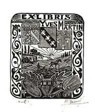 EX-LIBRIS  d'Yves MARTIN par René Barande.