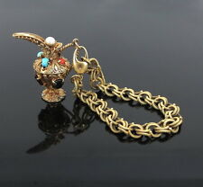 Antique 3.0ct Garnet Turquoise Coral & Pearl 14K Gold Large Charm Bracelet