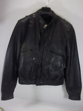 Berman's Black Leather MOTORCYCLE JACKET MEN's 38 Punk Rock style Vintage GH10
