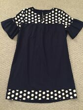 Nwt JCREW Petite bell-sleeve dress with fringe dot Navy $118 G3696 10P SOLD OUT!