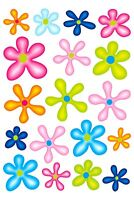 Aufkleber Blumen-Set 300 x 200 mm bunt Sticker Auto Blumen