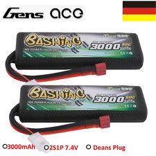 2X 7.4V 3000mAh 50C 2S HardCase Lipo Battery Deans Plug 8# For Tamiya M Chassis