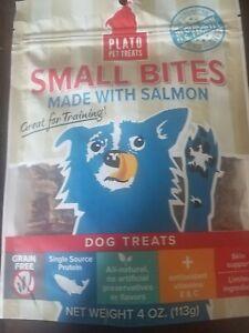 Plato Pet Treats Small Bites Salmon Recipe Dog Treats, 4 oz.