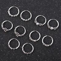 Gothic Silver Stud Hoop Earrings Men Women Fashion Ear Dangle Jewelry Charming