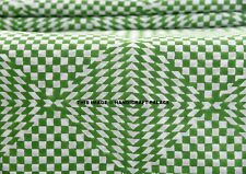 5 Yard Indian Hand Block Printed Ikat Voile Running Cotton Fabric Green Sewing