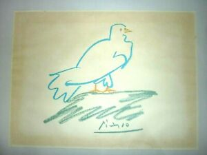 "Scarce Genuine Vintage Pablo Picasso Pigeon/Dove Art Print. Framed 16.5"" x 12.5"""