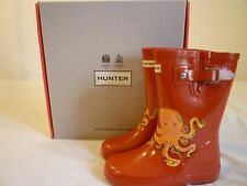 HUNTER Sea Creatures Octopus Rain Boots Kids 11 $60 Red New In Box