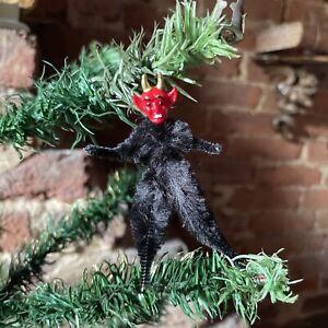 Vintage Christmas Tree Decoration Chenille Krampus Halloween Devil