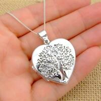 Extra Large 925 Sterling Silver Tree of Life Heart Photo Locket Pendant Necklace