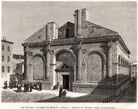 Rimini: Tempio Malatestiano o Duomo.Pittoresca.Stampa Antica + Passepartout.1877