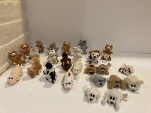 "Vtg Lot of 25 Galoob Pound Puppies Purries Kitten Farm Horse Mini 3"" Plush 90s"