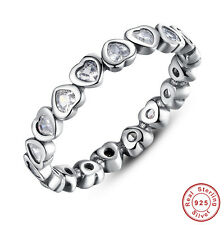 925 Sterling Silver Clear CZ Stacking Heart Crystal Band Ring Size 8 for Xmas