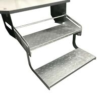 Galvanised Double Pull Out Manual Folding Caravan Step Camper Trailer RV