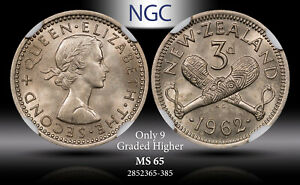 1962 NEW ZEALAND 3 PENCE NGC MS65 ONLY 9 GRADED HIGHER #A