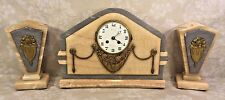 Antique 19th C French Onyx Mantle Clock and Garniture Set Runs & Strikes