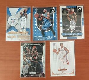 5 Kevin Durant NBA cards lot (Panini Prizm, Excalibur and Donruss)