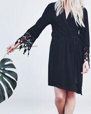 OpalMilk Black Quintessential Lace Sleeves Noir Wrap Robe Dress Size Medium $315