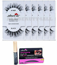 AmorUS #WSP 100% Human Hair False Eyelashes 6 pieces with adhesive glue set