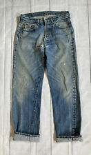 Vintage 1980s Levis 501 Selvedge Redline Denim Distressed Made In USA Jeans 33