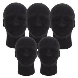 5Pcs 11'' Black Male Foam Mannequin Head Model Stand for Hat Wig Glasses Display