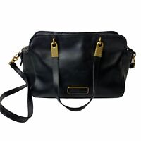 Marc By Marc Jacobs Black Leather Gold Hardware Crossbody Dual Handles Handbag