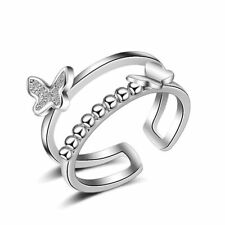Elegant 925 Sterling Silver AAA Zircon Butterfly Band Ring Size O Adjustable