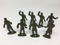 Vintage MPC Green Plastic Figures Ring Hands + More Lot 8 Overalls Coveralls