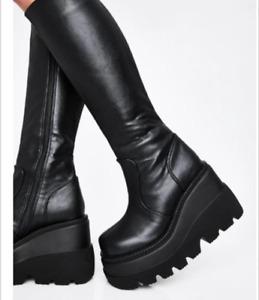 Women Platform Wedge Heel Knee High Boots Round Toe Punk Goth Knight Bootie Shoe