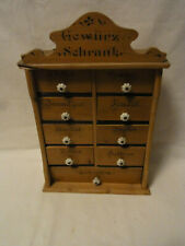 Antique German 9 Drawer Wood Hanging Spice Cabinet #<