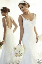 New White/Ivory Lace Wedding Dress Backless Bridal Gown Size 6 8 10 12 14 16 18+