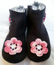 NEW BLACK FAUX MICRO SUEDE BOOTS SPARKLE w/ ROSE 9 12 MONTHS GIRLS BABY INFANT