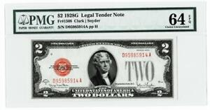 1928-G $2 Red Seal United States Note~PMG UNC 64EPQ